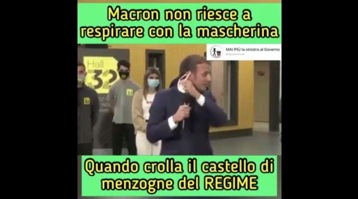 Macron non riesce a respirare con la mascherina e ne chiede una più leggera