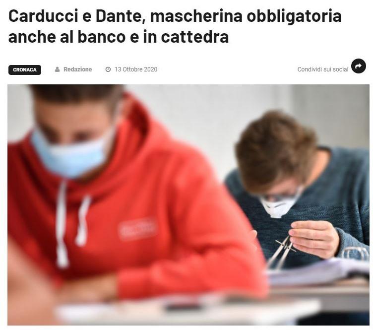 Scuola: Carducci e Dante, mascherina obbligatoria anche al banco e in cattedra