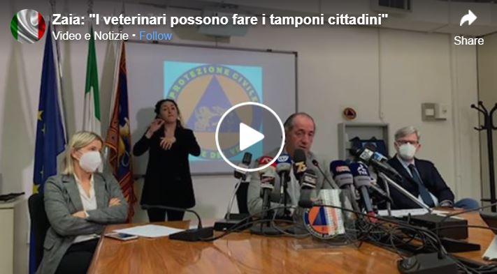 Covid, Zaia: «Veterinari potranno fare i tamponi ai cittadini»