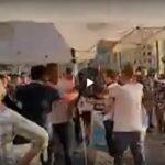Milano 28 agosto: assalto al gazebo del M5S a Milano manifestanti contro l'obbligo vaccinale e il green pass.