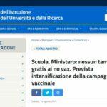 Scuola, Ministero: nessun tampone gratis ai no vax. Prevista intensificazione della campagna vaccinale